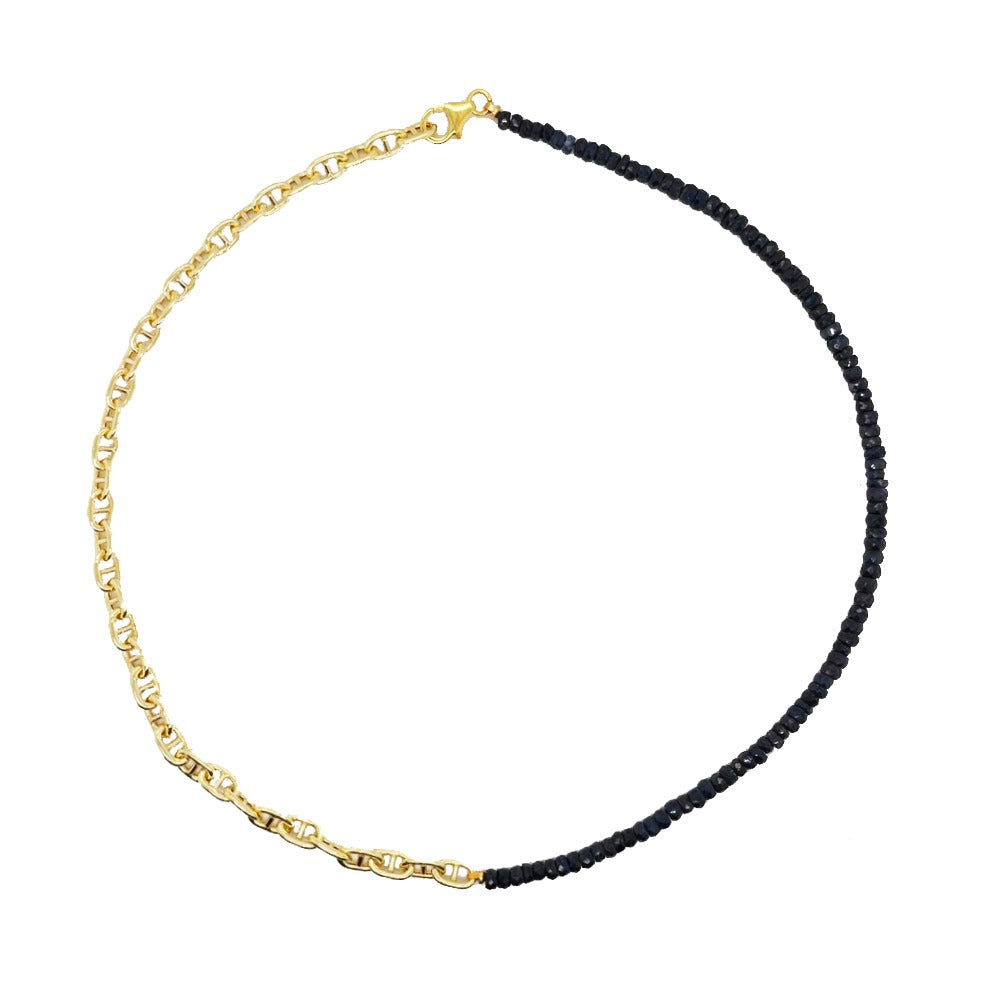 Half and Half Blue Sapphire Bead and Gold Plated Chain Necklace- ALL NEW BOUTIQUE EXCLUSIVE