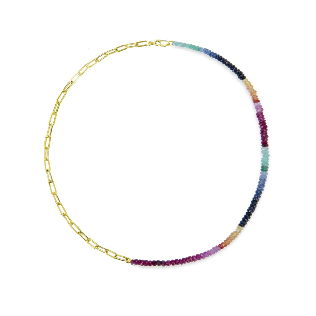 Half and Half Rainbow Sapphire Bead and Gold Plated Paperclip Chain Necklace- ALL NEW BOUTIQUE EXCLUSIVE