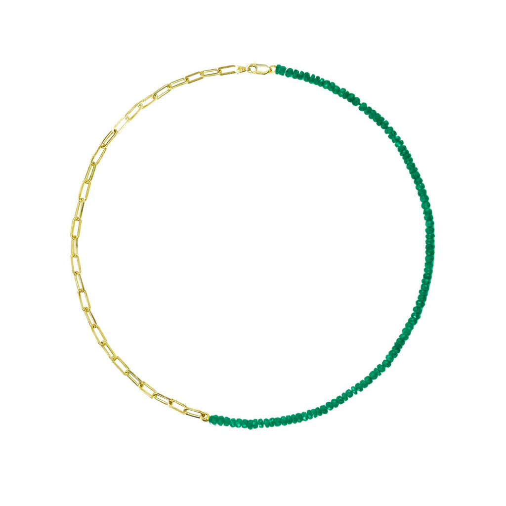 Half and Half Emerald Bead and Gold Plated Paperclip Chain Necklace- ALL NEW BOUTIQUE EXCLUSIVE