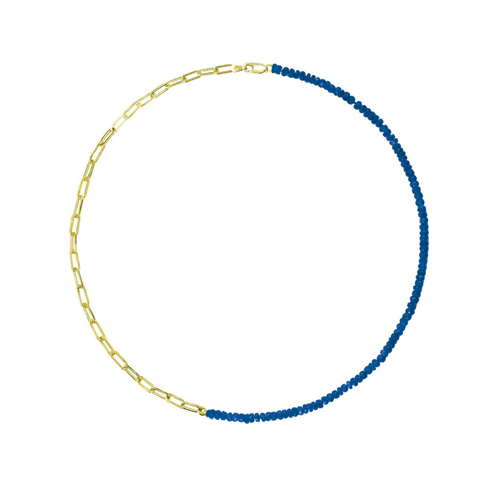 Half and Half Blue Sapphire Bead and Gold Plated Paperclip Chain Necklace- ALL NEW BOUTIQUE EXCLUSIVE