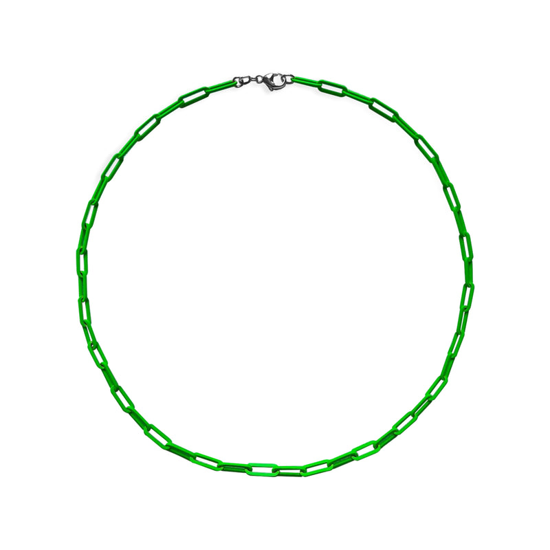 Neon Green Paperclip Chain Necklace WEB EXCLUSIVE