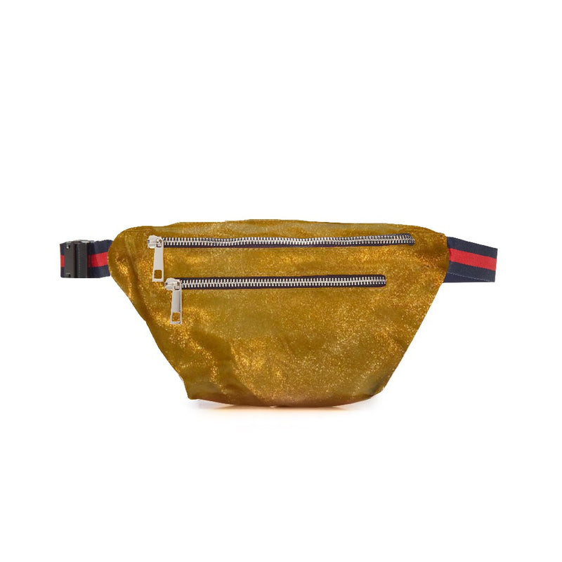 Khaki Mettalic Double Zipper Belt Bag Fanny Pack