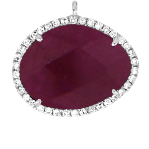 Large Center White Gold and Ruby
