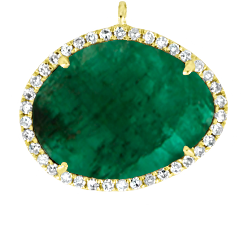 Large Center Yellow Gold and Emerald