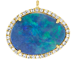 Large Center Yellow Gold and Opal