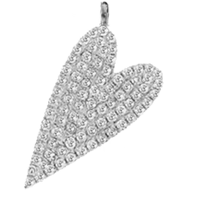 Diagonal White Gold Heart