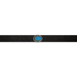 Turquoise Choker with Silver and Brown Diamond Accents and Leather