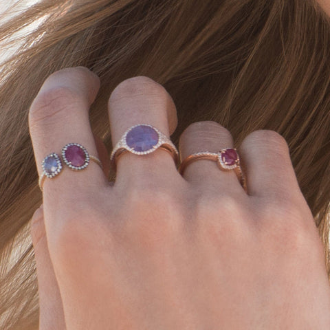 Pink Sapphire and Tanzanite Open Ring