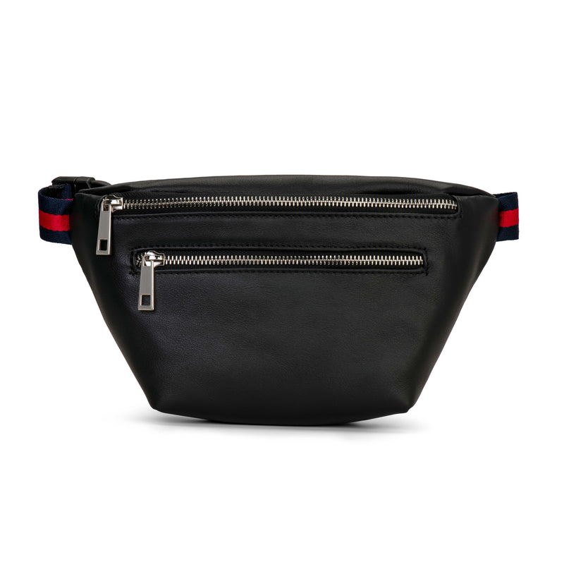 Black Leather Double Zipper Belt Bag Fanny Pack