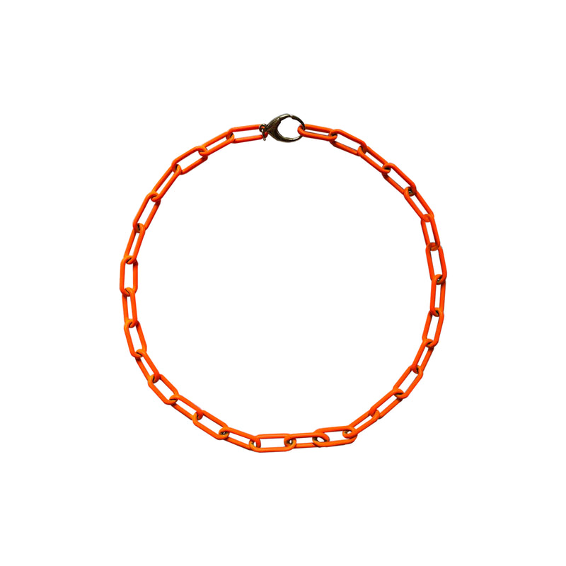Neon Orange Link Chain Necklace WEB EXCLUSIVE