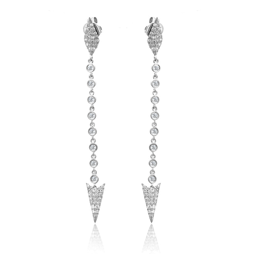 Long Diamond Spear Tip Earrings