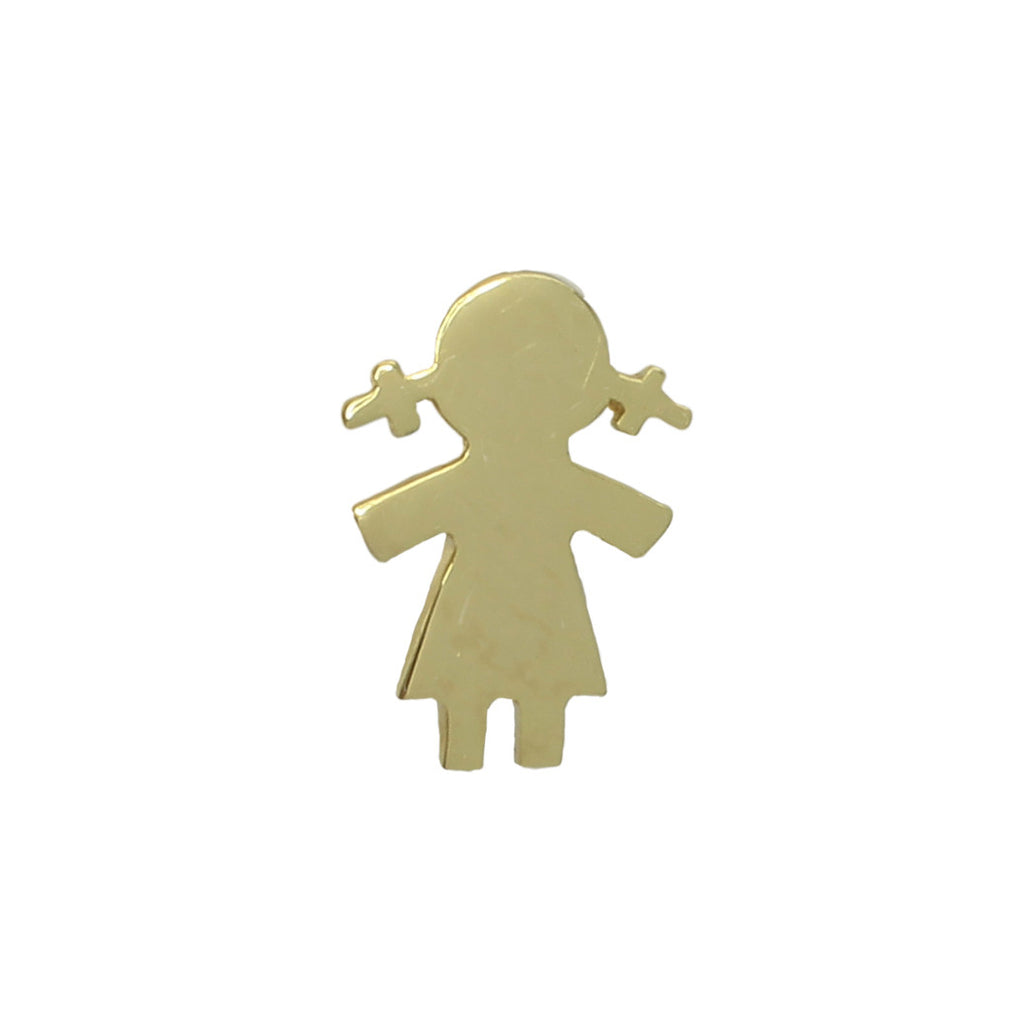 Meira T Large Gold Little Girl Stud Earring