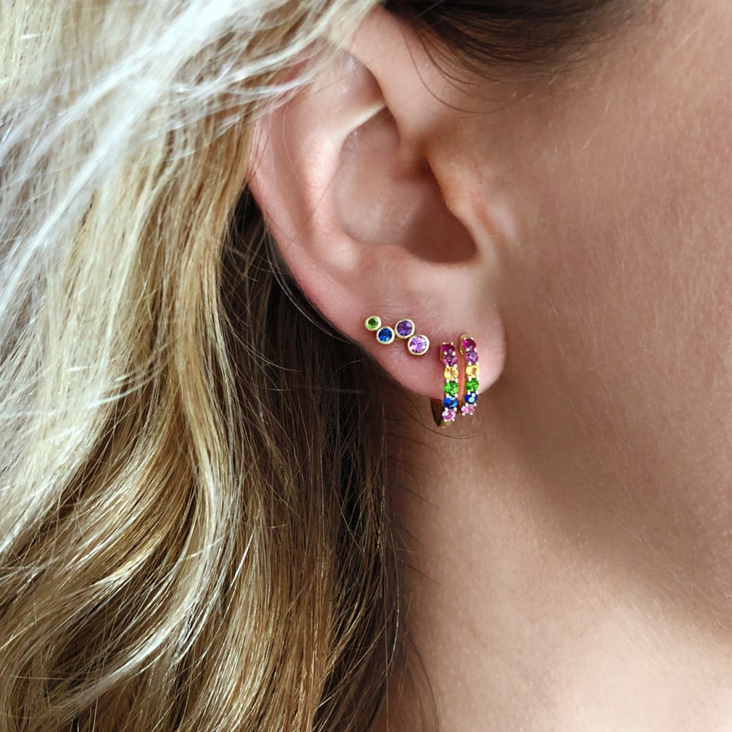 white gold rainbow earrings