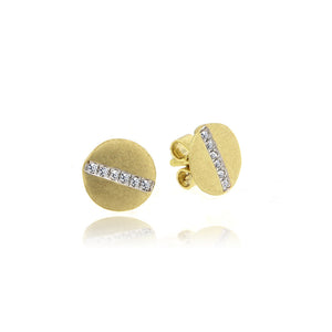 Brushed Yellow Gold Studs