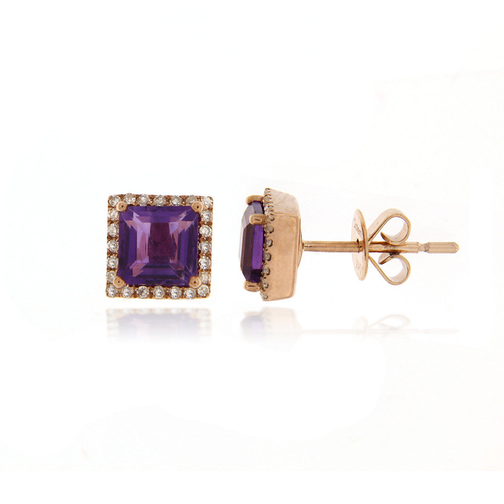 Amethyst Diamond Princess Cut Studs