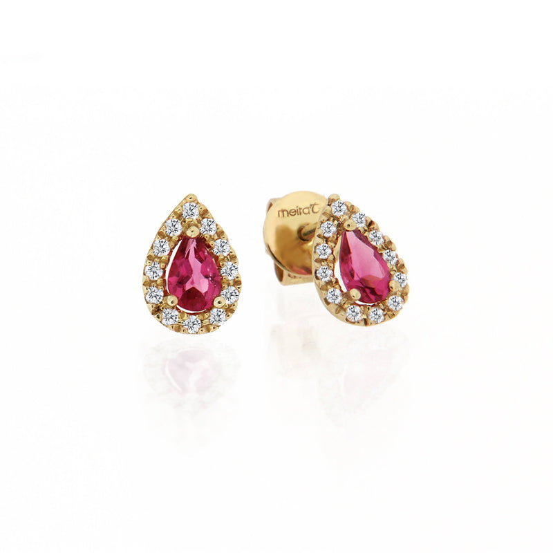 Yellow Gold Pink Tourmaline Studs