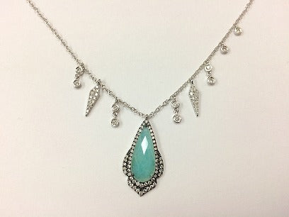 White Gold Amazonite Necklace