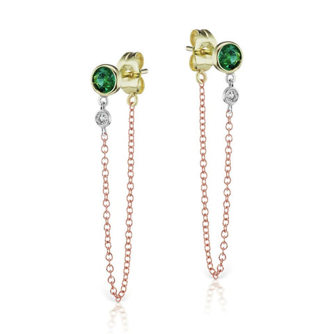 Emerald Bezel Earrings