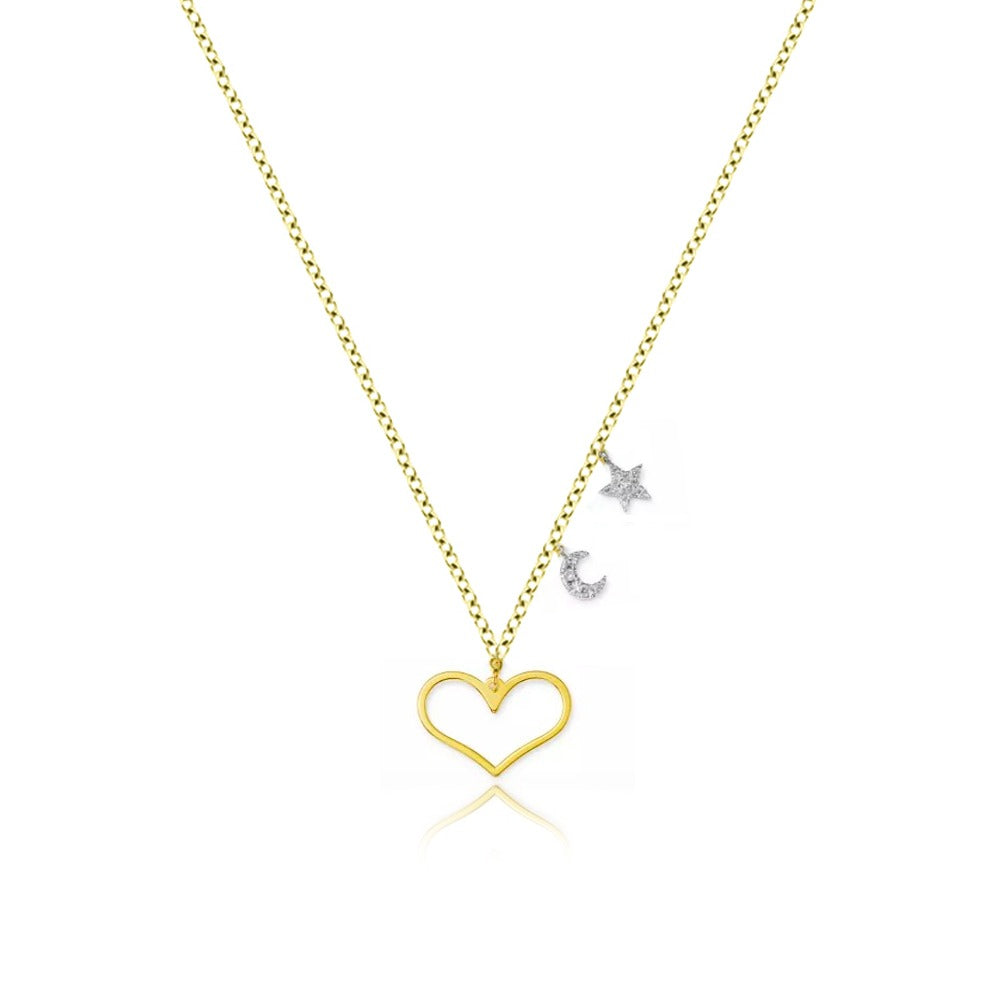 Diamond Heart and Moon Yellow Gold Necklace