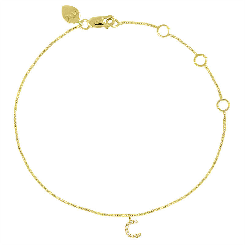 Custom Diamond Letter Bracelet Yellow Gold