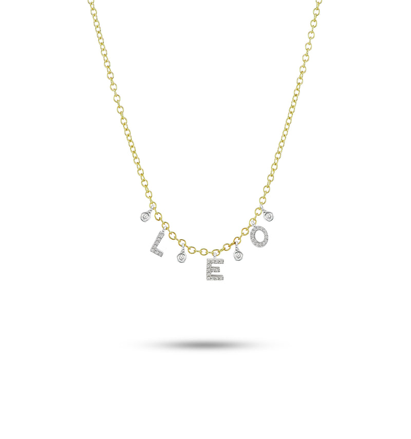 Meira T Custom Initial Diamond Necklace with 3 letters