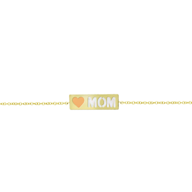 Mom Plate Bracelet with Blush Enamel and Mother of Pearl Accent