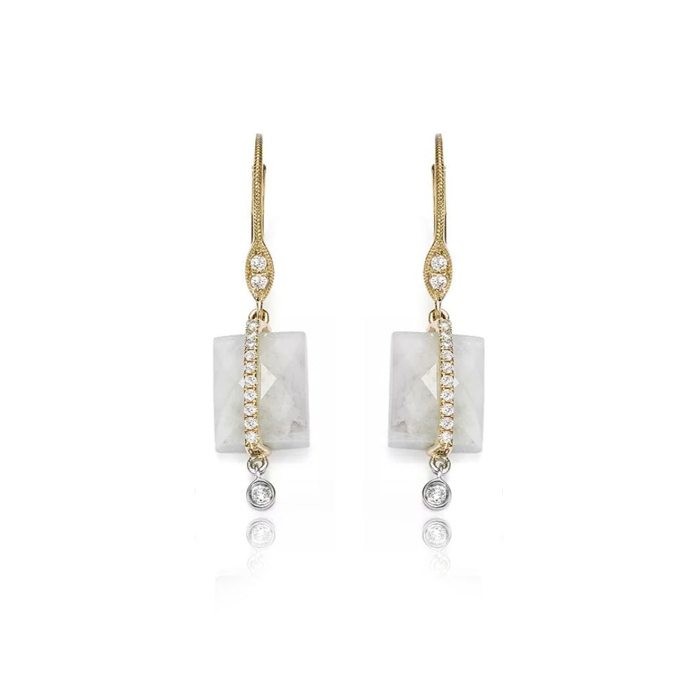 Moonstone Diamond Earrings