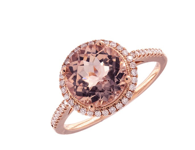 Morganite Rose Gold Diamond Ring