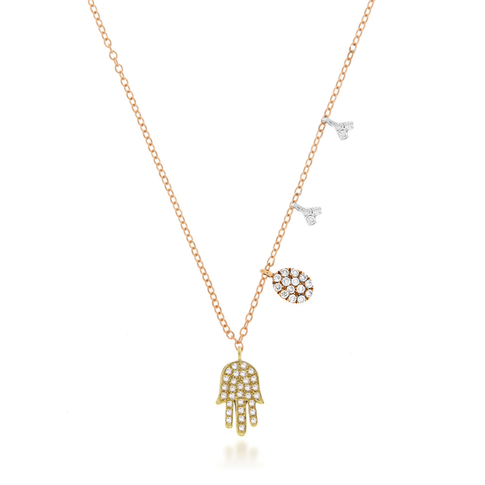 Three Tone Gold Hamsa Necklace