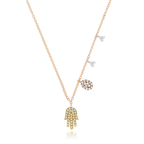 Yellow Gold, Rose Gold and White Gold Hamsa Necklace with Charms