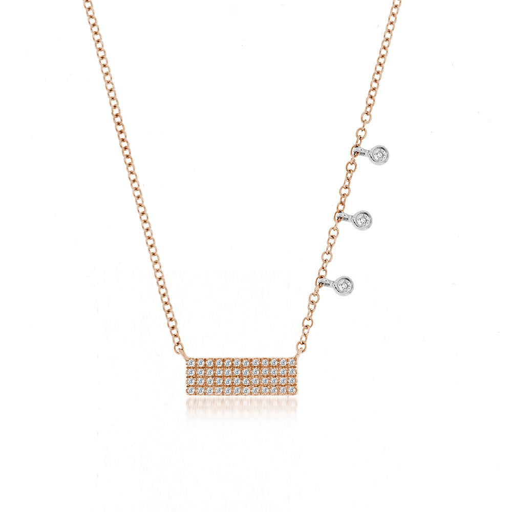 Rose Diamond Bar & Bezel Necklace