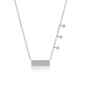 White Diamond Bar Necklace