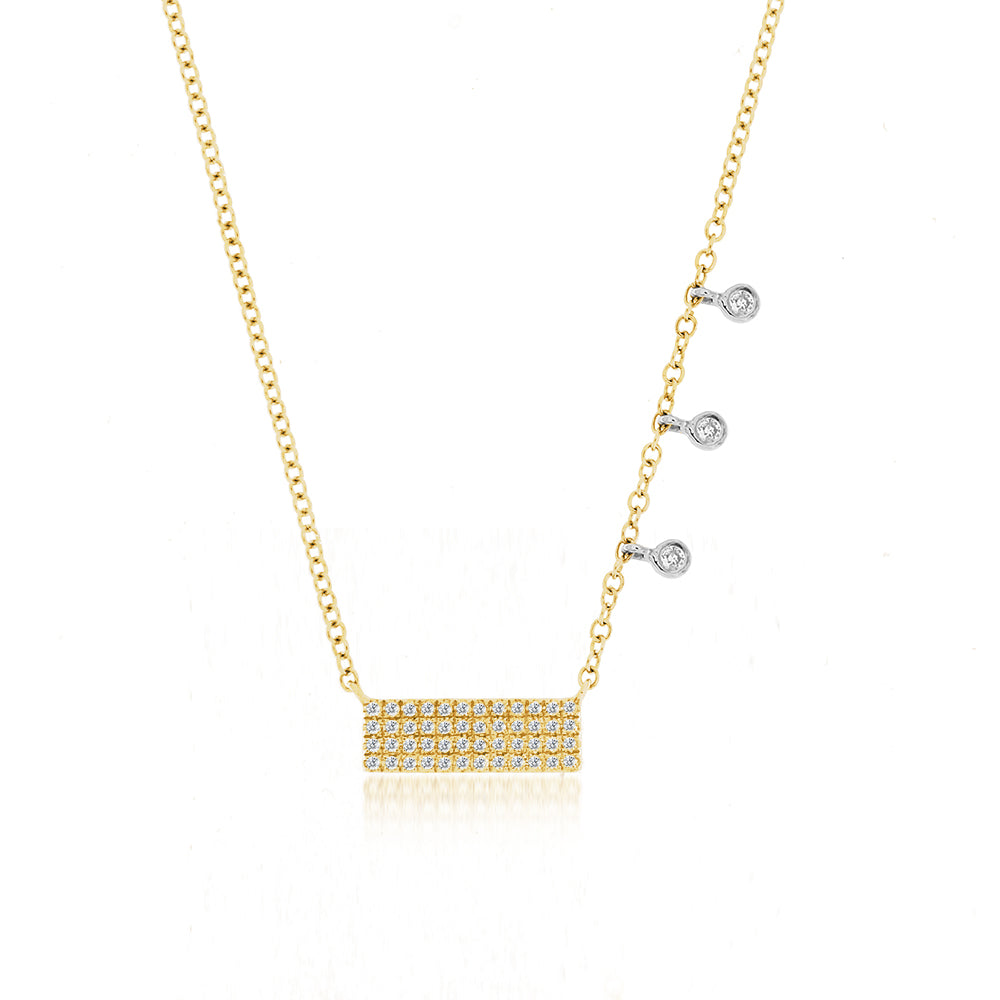 Yellow Diamond Bar & Bezel Necklace
