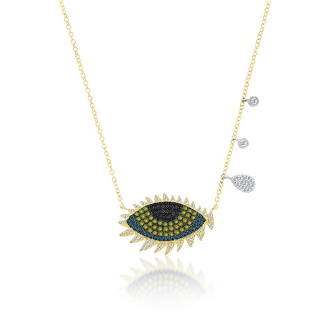 Evil Eye Necklace With Diamond Lashes and Bezels