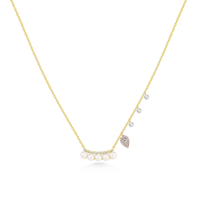 Pearl Necklace with Rose Gold Charms and Diamond Bezels