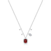 Ruby Necklace with Off-Centered Diamond Charms