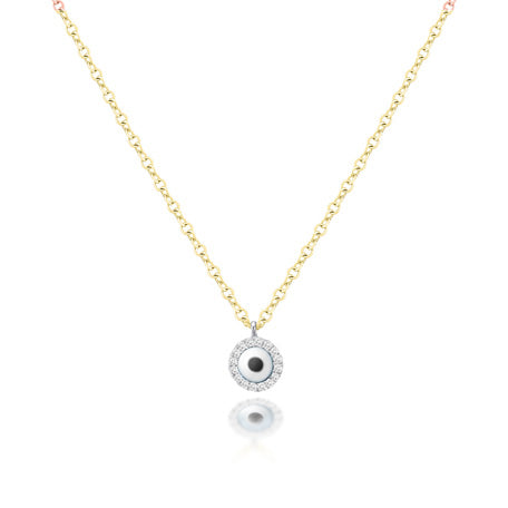 Mini Evil Eye Necklace in Yellow Gold