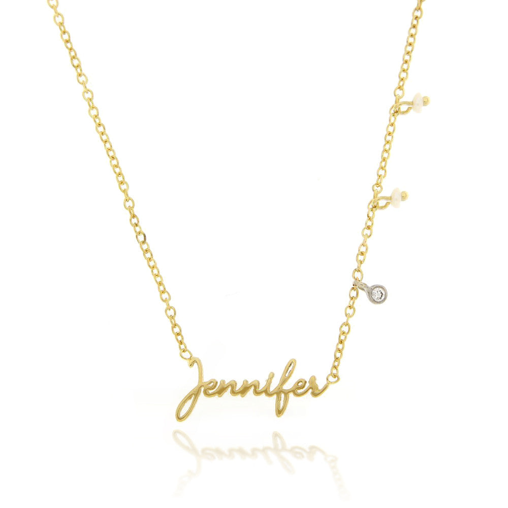 Script Name Plate Necklace With Off Centered Charms