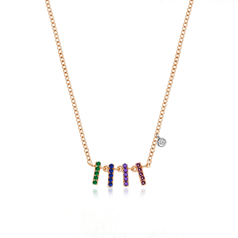 Rose Gold Rainbow Multi Bar Necklace
