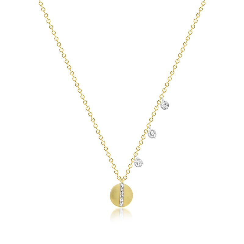 Delicate Diamond Disc Necklace With Off Centered Bezels