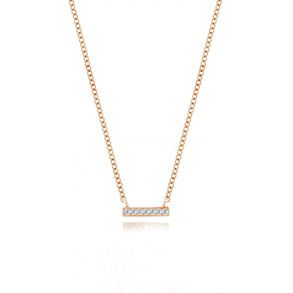 Rose Mini Diamond Bar Necklace