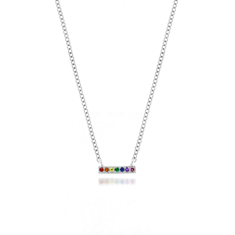 white gold rainbow necklace
