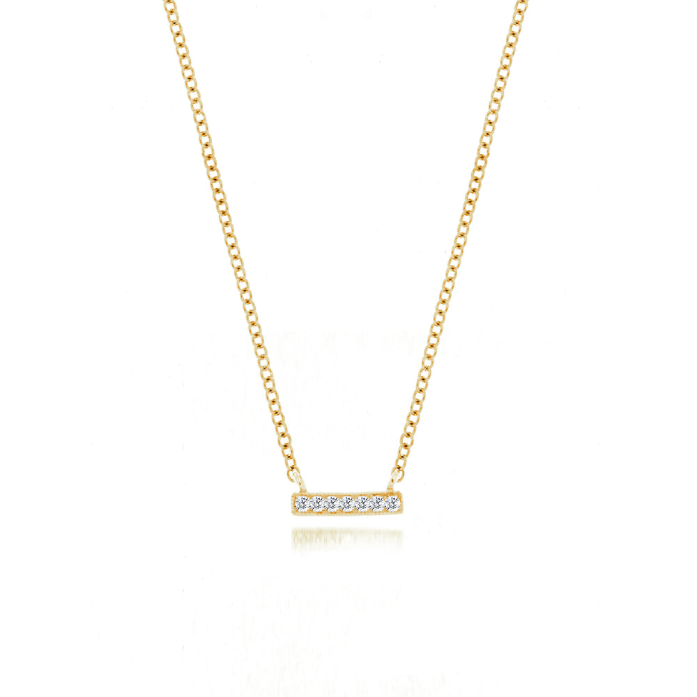 Yellow Mini Diamond Bar Necklace