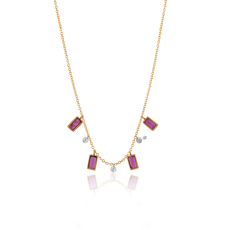 Rose Gold Ruby Baguette Necklace