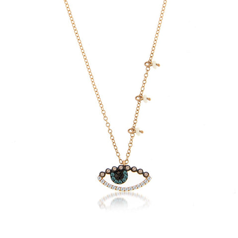 Diamond Evil Eye with Pearl Side Charms