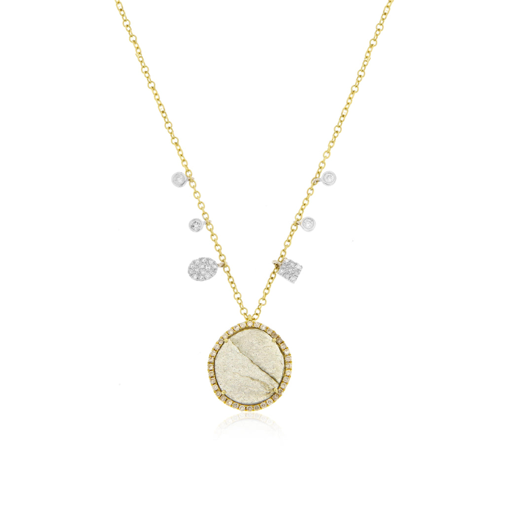 Gold, Diamond and Labradorite Necklace with Off-Center Charms and Bezels