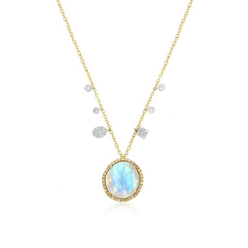 Moonstone Necklace with Off-Center Charms and Bezels