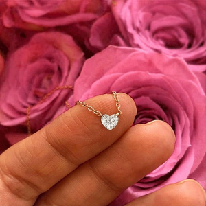 White Gold Drilled Heart Diamond
