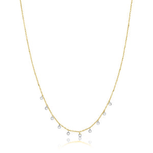 Yellow Gold Necklace with 10 Diamond Bezels