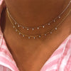 14k Gold Choker with Diamond Bezels